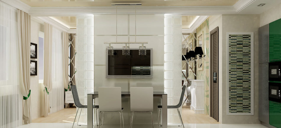 Кухня с гостиной зоной на бульваре Менделеева